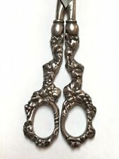 ANTIQUE STERLING SILVER SHEARS SCISSORS GRAPE MOTIF MADE IN GERMANY