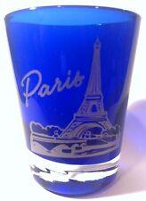 PARIS FRANCE COBALT BLUE SHOT GLASS SHOTGLASS