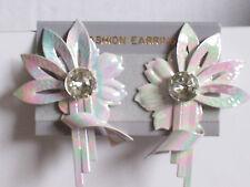 Large clip-on earrings Flashy Iridescent Flower Transvestite Drag Queen style