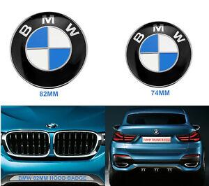2Pcs BMW Badge Emblems Front Hood (82mm) + Rear Trunk (74mm) Cap Badge Emblem