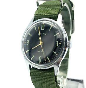 Vintage VOSTOK Black Dial Mens Wristwatch USSR Russia 60s Soviet Original 2209