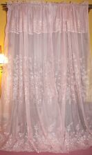 VINTAGE VICTORIAN CHIC FRENCH COUNTRY COTTAGE ROSE PINK FLORAL DRAPES CURTAINS