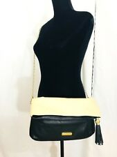 STEVE MADDEN Black Ivory Crossbody Foldble Bag Oversized Clutch Purse Tassle EUC