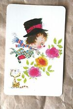 Vintage Swap Card 1970s Boy with Cat & Flowers Blank Back Excellent Condition