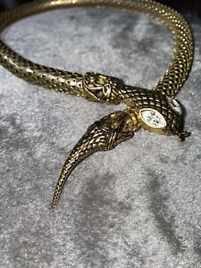 Vintage Rolled Gold Snake Necklace Crystal Eyes 1980s Stunning Example Retro