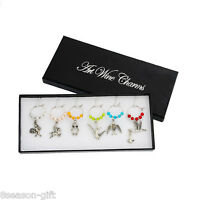 HH  1Box Mixed Wine Glass Charms Pendant Table Decorations W/Box for Xmas Party