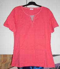 T-shirt femme NEUF taille 42-44 rose avec encolure blanche - Anne de Lançay