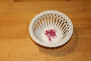 Herend Körbchen geflochten -- Apponyi purpur -- handbemalt