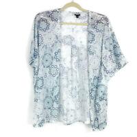 Torrid Womens sz 3 Blue Geo Print Open Front Cardigan Sweater Short Sleeve