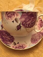 LARGE CUP & SAUCER~PURPLE ROSES ,GRACE TEAWARE WHITE PORCELAIN~GOLD EDGE,FREE SH