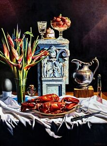 Still Life w/Lobster, Helicona, Original Painting, Ian Hornak - Photorealism