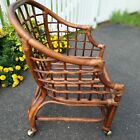 VTG MCM Asian Style Bamboo Bentwood Rattan Lounge Chair 1950's BOHO CHIC CLASSY