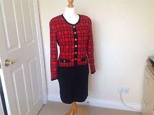 Vintage Retro Chic 1980's M&S Red Black Plaid Dress Size 16
