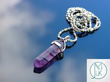 Purple Fluorite Crystal Point Pendant Natural Gemstone Necklace Healing Stone
