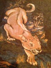 Vtg Chatham North Star Blanket Throw Reversible Lion Cougar Animal Acrylic 62x77