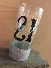 Personalised Glitter Hi-Ball Glass - Birthday 18th, 21st, 30th, 40th, 50th, 60th