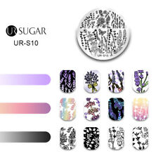 Nail Art Stamping Templates Lavender Flowers Spring Butterfly Manicure UR SUGAR