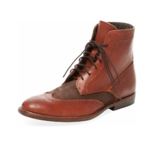 Vintage Shoe Company Brown Benedict Suede & Leather Wingtip Boot 81/2  Org. $495