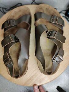 Birkenstock Mens Milano Dark Brown Leather ankle straps Sandals Sz EUR47/ US 13
