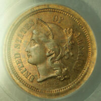 1868 Three Cent Nickel in Copper Judd-616 Pattern Coin PCGS PR-64 RB Proof CM
