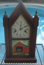 ANSONIA STEEPLE CLOCK with Red Covered Bridge on Glass