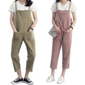 Korean Women Casual Romper Jumpsuit Corduroy Overalls_Loose Solid Strap Pocket3C