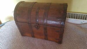 Retro Wooden Pirate Vintage Treasure Chest Wood Jewellery Storage Box Case Decor