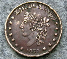 UNITED STATES 1837 HARD TIMES TOKEN, NOT ONE CENT MILLIONS FOR DEFENCE, HT# 46 ?