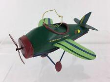 KURT ADLER HOLIDAY TOYS GREEN GLITTER METAL AIRPLANE BIPLANE PLANE XMAS ORNAMENT