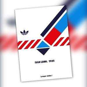 Ivan lendl 1985 adidas A3 Art Print tennis Wimbledon original football casuals