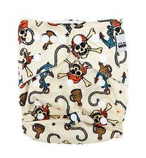 New Reusable Modern Cloth Nappy (MCN) + FREE insert Pirates & Anchors