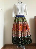 Vintage Hand Stitch Embroidered Hemp Cotton Skirt Multi-Color HMONG RARE Skirt
