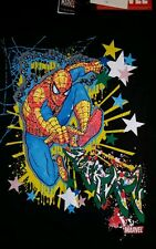 RARE Spiderman Graffiti Graphic Kids Large Black Shirt Embellished 3-D Raised