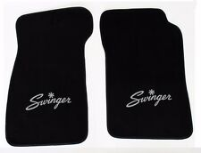 New! Black Carpet Floor Mats 1967-1976 Dodge Dart Swinger Logo Silver Pair Set 2