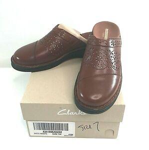 Clarks Collection Women's Dark Tan Leather Mule Patty Renata Clogs Size 7M Shoes