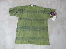 NEW VINTAGE Body Heat Shirt Adult Large Green Surfer Skater All Over Print 90s