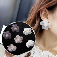 Petals Acrylic Crystal Women Fashion Stud Earrings Big White Camellia Flower