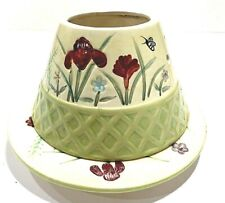 Hand Painted Vintage Large Candle Lamp Shade Topper and Plate Yankee Candles
