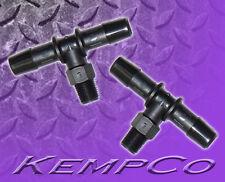 "(2) Two - 1/8"" NPT Male x 3/8"" Hose-Barb TEE Adapter Fittings Black Nylon"
