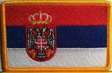 SERBIA Flag Patch With VELCRO® Brand Fastener Gold Tactical Military Emblem #7