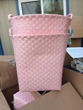Pink Nylon Woven Laundry Hamper Bath Clothes Washing Organizer Basket Bin Can