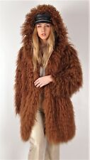 Vintage Real Fur Coat Jacket Mongolian Sheep Goat Tibetan Oversized Hood Large