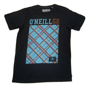 Vintage ONeill Black Print Short Sleeve T Shirt - Mens Large Slim Fit