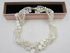 Handmade 5 Strand White Freshwater Pearl/Crystal/Mother of Pearl Necklace Choke