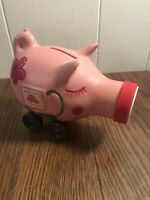 Vintage State Farm Insurance Pink Piggy Bank on Wheels Advertising