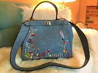 LRG Blue Convertible Crossbody Satchel Handbag w/Colorful Studs/Embroidery NWOT