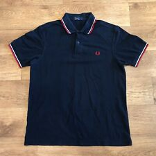 Fred Perry Polo Shirt Black Twin Tipped Medium