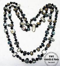 Collana Lunga Madreperla,perle,pietre Dure,cristalli da donna 36 colori nero