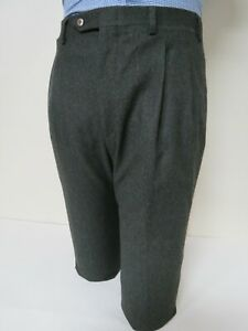 Kiton made in Italy wool heavy flannel forest green dress pants Size 36-32