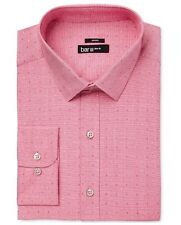 NWT $95 BAR III Men SLIM-FIT STRETCH PINK WHITE COLLAR DRESS SHIRT 16-16.5 32/33